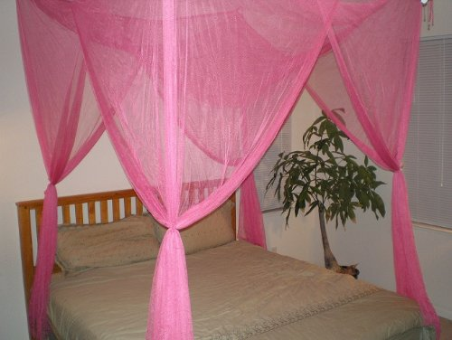 4 Poster / Four Corner Hot Pink Bed Canopy Mosquito Net Full Queen King