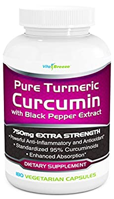 Turmeric Curcumin Complex with Black Pepper Extract - 750mg per Capsule, 180 Veg. Caps - Contains Piperine (For Superior Absorption and Tumeric Bio-availability) and 95% Standardized Curcuminoids For Maximum Potency