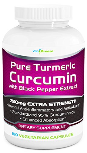 Turmeric Curcumin Complex with Black Pepper Extract - 750mg per Capsule, 180 Veg. Caps - Contains Piperine (For Superior Absorption and Bio-availability) and 95% Standardized Curcuminoids For Maximum Potency