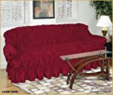 2 Seater RED WINE Jacquard Sofa Cover - Universal Elastic Fitting (better than a throw) NAKUK