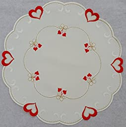 Valentine or Wedding Linen Doily with Bold Red Hearts and White Bows. Accented with Gold Thread