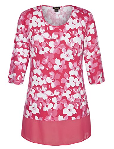 Chicwe Women's Floral Printed Plus Size Tunic Top with Chiffon Hem 24 Rose Pink (Plus Size Stores)