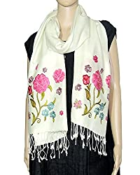 Beautiful floral embroidery large muffler or small stole