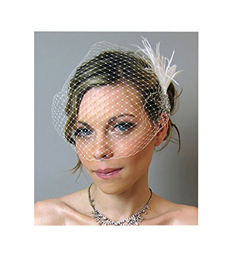 S&E Women's Elegant White Feather Birdcage Face Veil Hair Clip Wedding Bridal Party Headpiece with Comb