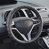 "BDK Genuine Leather Car Steering Wheel Cover 13.5""-14.5"" (Small / Black) - Universal Fit, Easy Installation"