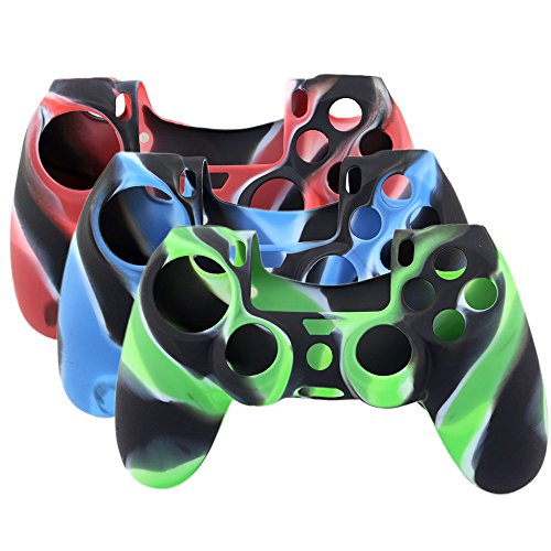 Super-Soft-Silicone-Cover-Case-Skin-for-Sony-Playstation-4-PS4-Controller-Camouflage-Red-Blue-Green-3-Colors-Package