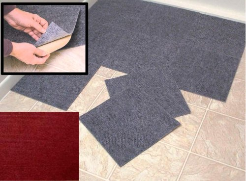 "Peel And Stick Tiles Peel and Stick Burgundy Berber Carpet Tiles 12""x12"" Set of 10 at Sears.com"