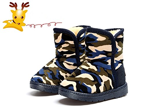Winter Warm Kids Snow Boots Camo Mid-Calf Faux Fur Fleece Shoes (11.5 M, Blue)