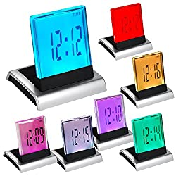 EkitMall 7 LED Change Colour Digital LCD Alarm Clock with Thermometer Calendar Snooze Clock