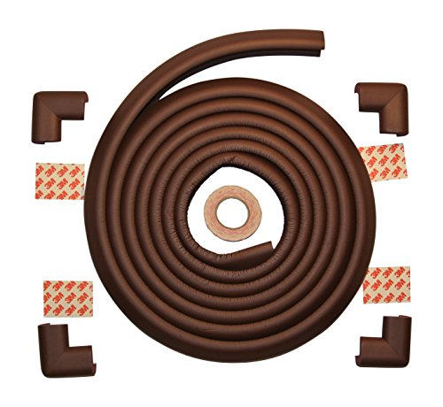Child Safety Foam Edge Protector And 4 Corner Bumper Guards (Extra Long- 5 Meters (16.4 Feet)) Plus 4 Pre-Made Corners - Childproof Your Tables, Furniture, Countertops, Hearths With Extra Thick, Non-Toxic Edging Material (Coffee Brown)
