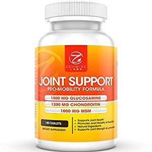 Joint Support Supplement - With 1500mg Glucosamine, 1200mg Chondroitin, MSM & Hyaluronic Acid for Advanced Relief - Mobility Health Supplement for Pain, Aches, Soreness & Inflammation - 180 Count