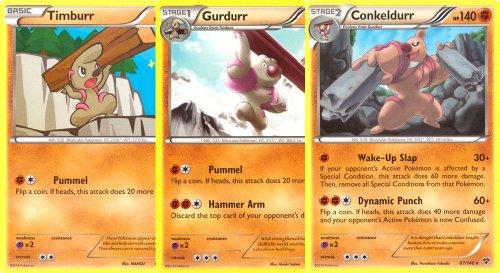 Conkeldurr-Gurdurr-and-Timburr-Rare-Pokemon-Card-Evolution-Set-X-Y-65-66-and-67