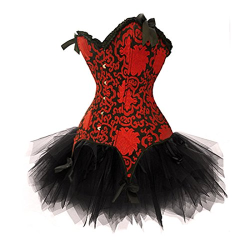 Red Fancy Corset Dress Moulin Rouge Burlesque TUTU Costume Ladies Lingerie