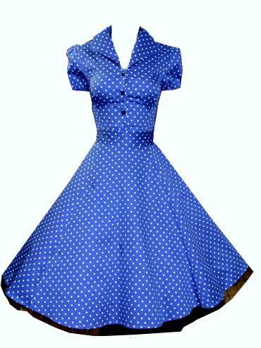 Ladies New 1940&#8242;s 1950&#8242;s Vintage Style Blue Polka Dot Classic