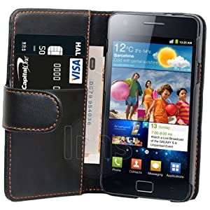 AIO Black Wallet Leather Case For Samsung Galaxy S2 i9100 + LCD Screen Protector