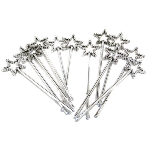 Sequin Star Wand - Silver (Pack of 12) by RINCO - 1