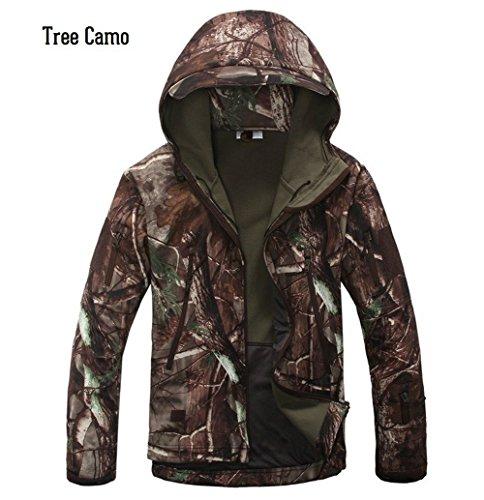 Webetop giacche uomo shark skin Tactical softshell giacca impermeabile per lo sport esterno, 9 colori, 5 formati, Albero Camouflage XL Taglia