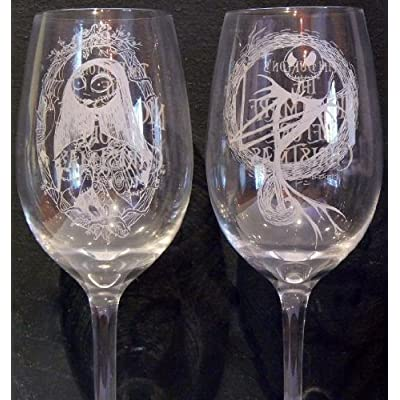 ... Nightmare Before Christmas ~ JACK & SALLY Wine Glasses: Wine Glasses