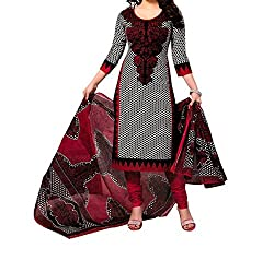 Look Smart Women's Polycoton Unstitched Dress Material (ANJU RED_Black_Free Size)