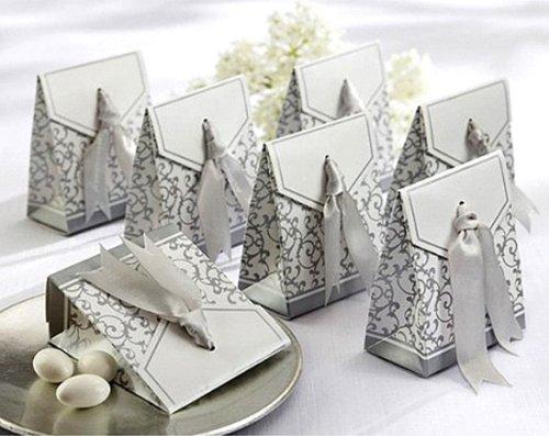 Silver Wedding Party boîtes à confiserie avec ruban pour invités d'accouplement 20