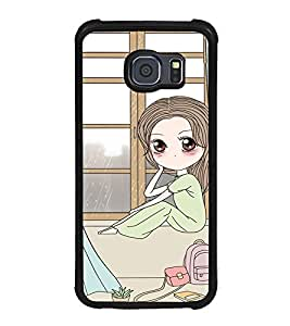 Fuson Premium 2D Back Case Cover cute girl near window With Green Background Degined For Samsung Galaxy S6 Edge::Samsung Galaxy Edge G925