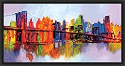 41in x 21in Abstract Manhattan by Brian Carter - Black Floater Framed Canvas w/ BRUSHSTROKES