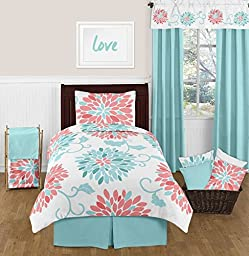 Sweet Jojo Designs Turquoise and Coral Emma 4 Piece Kids Teen Modern Twin Bedding Set Collection