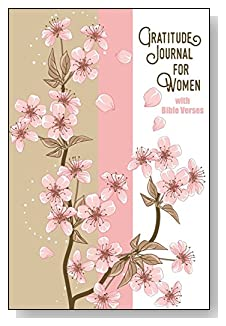 Gratitude Journal For Women - With Bible Verses. Pink cherry blossoms grace the tan, pink and white cover of this 5-minute gratitude journal for the busy woman.
