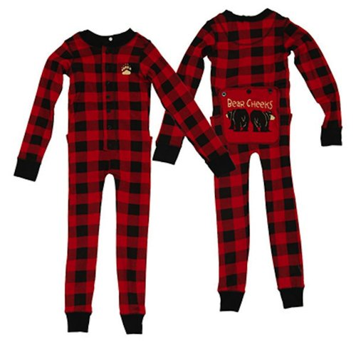 Lazy One Kid Toddler Pajama's Pjs Plaid Bear Cheeks Flapjack - 2T