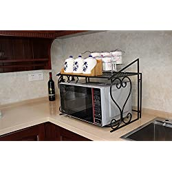Dazone Metal Microwave oven shelf Kitchen Counter and Cabinet Shelf (Black)