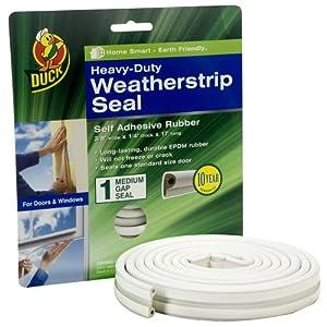 Duck Brand 282435 Heavy Duty Self-Adhesive Rubber Weatherstrip Seal for Medium Gap, 3/8-Inch x 1/4-Inch x 17-Feet