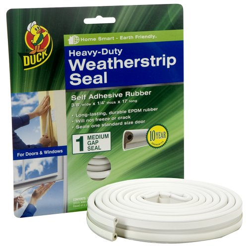 Duck Brand 1297116 Heavy Duty Self-Adhesive Rubber Weatherstrip Seal for Medium Gap, 3/8-Inch x 1/4-Inch x 17-Feet