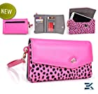 PU Leather & Mink Wallet with Universal Phone Bag fits Nokia Lumia 1020 Cover - PINK with DOTS. Bonus Ekatomi Screen Cleaner