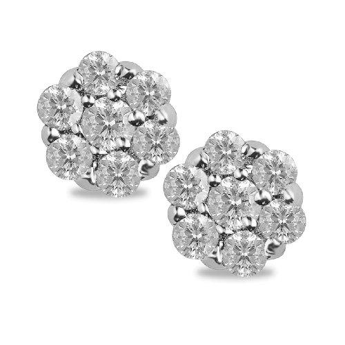 10k White Gold Diamond Earrings (1/10 cttw, I-J Color, I3 Clarity)