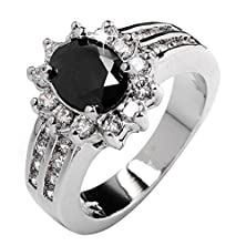 buy Aiyaya Jewellery Black Cz Lady'S 10Kt White Gold Ring Sz7