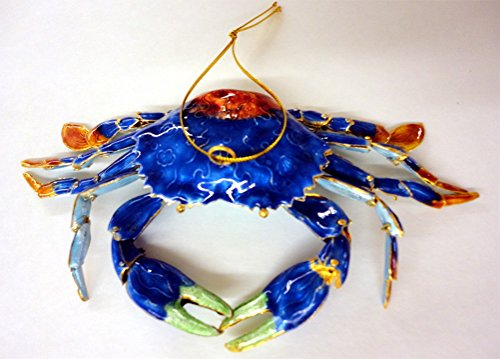 Cloisonne Articulated Blue Crab Christmas Ornament