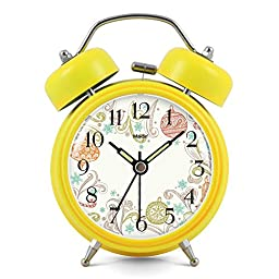 3 inches Non-ticking Silent Quartz Bedside Twin Bell Alarm Clock with Nightlight and Noctilucent Pointer, 90*120*50mm, yellow