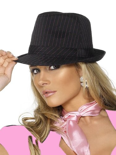 Smiffy'S Gangster Hat With Pinstripe (Black/ Pink)