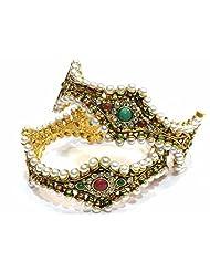 Shingar Jewellery Antique Gold Kundan Polki Look Screw Open Kada Bangles Set In 2.6 Size For Women (5976-m-2.6...