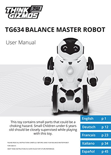 Remote-Control-Self-Balancing-Robot-Toy-for-Kids-TG634-R-Black-Red-Version-2-Smart-Interactive-RC-Robot-By-ThinkGizmos-Trademark-Protected