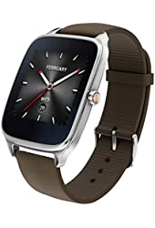 "ASUS ZenWatch 2 Android Wear Smartwatch - 1.63"", Silver case with Brown rubber band"