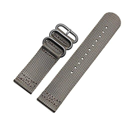 Transer® Cintura Uomo Orologi Da Polso Unisex Donne Cinturino Orologio Nylon 210mm 24mm Watchband Regolabile Cinturini Accessori Donne Regolabile Strap Band per Suunto Core (Grigio)