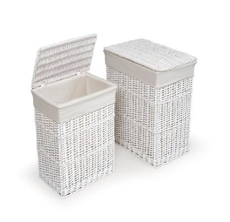 Badger Basket Two Hamper Set With Liners, White front-905248