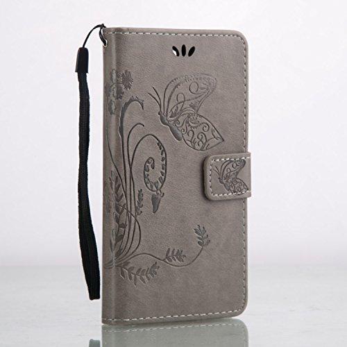Cozy Hut Huawei Y6 pro PU Housse,Slim-Fit Folio Smart Cuir Portefeuille Case Coque Etui pour Huawei Y6 pro,Fleur de papillon Motif PU Leather Coque