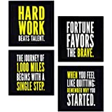 4 PIECE SET OF FRAMED WALL HANGING MOTIVATIONAL OFFICE DECOR ART PRINTS 8.7 INCH X 8.7 INCH WITHOUT GLASS