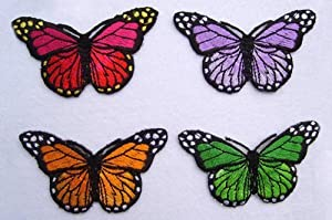 Set of 4 Butterflies Butterfly Iron on Sew on Embroidered Patch Badge Applique Motif
