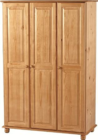 Pine Wardrobe 3 Doors and Bun Turned Feet - Hampshire Solid Pine Bedroom Furniture Range