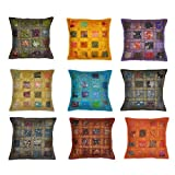 Rajasthali Indian Vintage Home Decor Cotton Cushion Cover With Embroidery & Patchwork, 41 X 41 Cm, 10 Pcs Lot