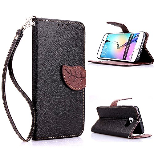 S6 Edge Case, Galaxy S6 Edge Case, ARTMINE Premium Leaf Buckle Noble PU Leather Flip Folio Book Style Wrist Strap Wallet Protective Skin Pouch Phone Case & Magnetic Closure with Credit/ID Card Slot [ Inner Silicone TPU Holder ] [ Kickstand Feature ] for Samsung Edge Galaxy s6 Verizon, AT&T, Sprint, T-Mobile --Black