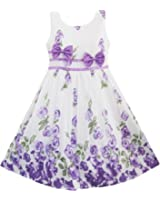 Girls Dress Purple Rose Flower Double Bow Tie Party Kids Sundress Size 4-12 Years